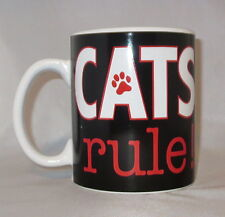 Cats Rule Taza de Café Grande 591ml NEGRO impresión huella Cerámica Roja
