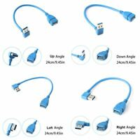 24cm Male A To Female A USB 3.0 Extension Cord Adapter Cable Right Left Angle