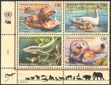 UN (G) 2000 Hippo/Swans/Birds/Animals/Nature/Wildlife/Conservation 4v blk b1811a