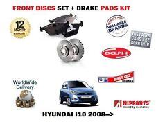 FOR HYUNDAI   i10 1.0  1.1 1.2 2008->ON FRONT BRAKE DISCS SET + DISC PAD KIT