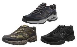 SKECHERS Men's Trail Sneakers in Blk, Brn Camo & Navy, Medium and Extra Wide EEE