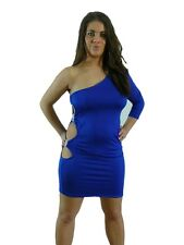 Sexy Clubwear Dress Party Blue Diamante Cut out side fits 8 -10