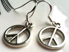 Silver Hooks, hippie boho wiccan Earrings Peace Sign, .925 Sterling