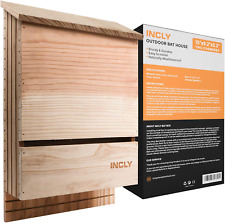 """Incly Bat House Kit for Outdoors 15""""x9.2""""x3.2 34; Shelter Box Roosting Large Double"""