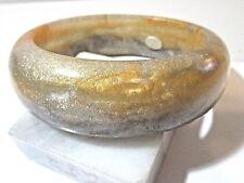 Ga2 Dark Lighter Green Gray Yellow Swirl Glitte Marbled Bangle Bracelet Resin
