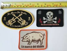 """Set 3 Patches 3.3/4"""" Iron on Applique Patch Rock Skull  Pig for bikers jacket"""