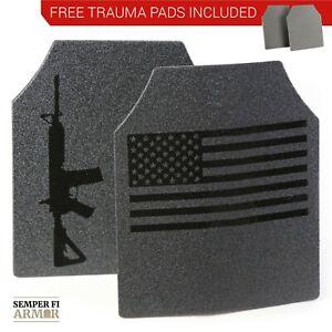 Body Armor AR500 American Flag 10x12 Plates! Immediate Shipping Free Trauma Pads