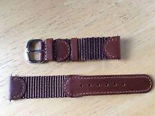 NEW SPEIDEL WATCH BAND BRACELET- Leather & Nylon 19mm 398R Brown SPORT Swiss Arm