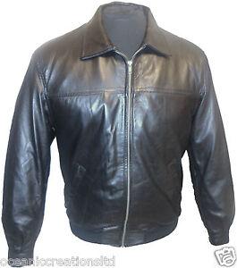 Mens Black MA2 Harington Pilot Bomber Army 100% Real Leather Jacket XS - 9XL