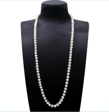 32Inches Women Long Sweater Natural 9-10mm Freshwater Cultured Pearl Necklace
