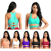 Womens Padded Push Up Bra Tops Strappy Crop Tank Vest Yoga Gymnastics Bralette