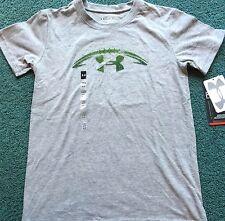 NWT Boys Under Armour XS Gray/Green Grass FOOTBALL Heat Gear Shirt YXS