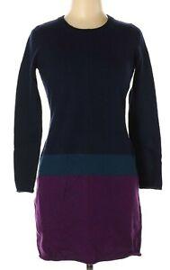 Cynthia Rowley Sweater Dress MEDIUM 100% Merino Wool Blue Purple Rolled Hem Cuff