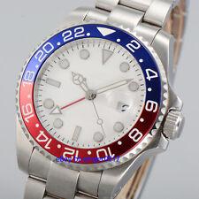 Parnis 40mm Sapphire Glass White Dial Men's GMT Automatic Luminous Watch