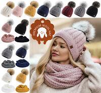 Womens Beanie, Scarf Faux Pom Pom Warm Winter Natural Wool Mohair & Micropolar