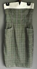 Vintage Genuine ESCADA Check Fabric Strapless Dress with Pockets Size 38 (10)