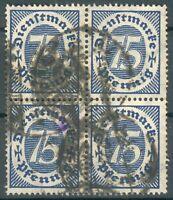 Deutsches Reich Dienstmarken 4er Block der Mi.-Nr.69 o (MICHEL € 40,00)