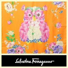 Salvatore Ferragamo $380 flower owl print apricot 35x35 silk scarf
