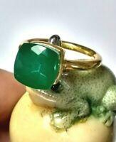 Grüner Onyx Ring, 925 Silber vergoldet, Gr.56