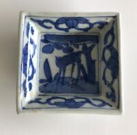 A Pair China Late Ming 明朝 Wanli 萬曆 17th Century Square Dish Deer Motif