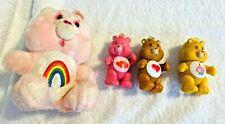 Lot of 4 Vintage Care Bears 1 Small Plush 3 PVC