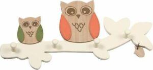 OWL WOODEN COAT HOOK DOOR HAT WALL HANGER nursery woodlands 4 hooks orange green