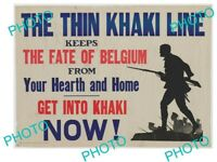 OLD HISTORIC PHOTO OF WWI ALLIES MILITARY POSTER THE BELGIAN KHAKI LINE
