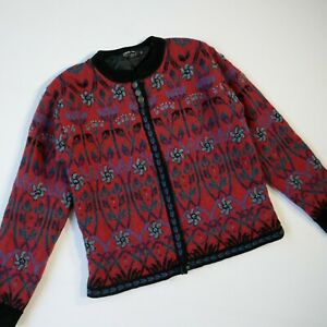 Icelandic design cardigan jacket medium red floral embroidered lined wool cotton