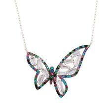Sterling Silver Necklace w/ Multi Colored CZ Stones Butterfly Pendant