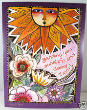 Laurel Burch Deluxe Greeting Card Get Well Card Glitter Sun And Flowers New