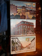 WINDSOR ONTARIO CANADA - 3 OLD POSTCARDS - PITT STREET - NIGHT SCENE - POST OFFI