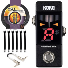 Korg PB01MINI Guitar Tuner + Guitar Patch Cable 6 in + Instrument cable & more