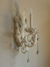 Rare Pair Of White Cream Color Wrought Iron Crystal Glass 1 Light Wall Sconces