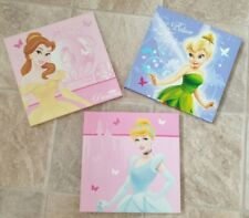 3 Pack, Disney Princess (2) and  (1) Tinkerbell Picture on Canvas  Size  10X10