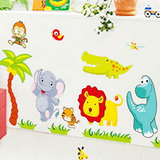 Happy Jungle animal Wall decal Removable stickers kids Baby nursery decor art