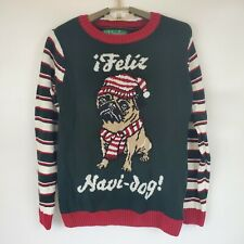 Womens Medium M Ugly Christmas Sweater ¡Feliz Navi-Dog!