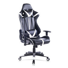 Racing Chaise en similicuir Chaise de Gaming chaise de bureau Blanc Noir BS13ws