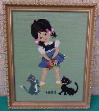Rare Clean Vintage Professionally Framed Cross Stitch Wall Art Heidi & Cats