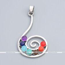 7 Gemstone Beads Quartz Healing Point Chakra Music Spiral Pendant Fit Necklace