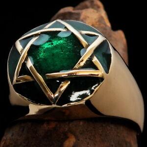 DOMED HEXAGRAM BRASS RING JEWISH STAR OF DAVID SIX POINT STAR GREEN SIZE 10