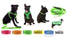 Warning Dog Colour Coded Collar Lead NERVOUS, BLIND, DEAF + MORE Sizes & Styles