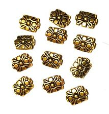 12 x Antique Gold Tone Tibetan Style Flower Beads Jewellery Making Findings