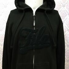 FILA F Box Hoodie Men M Black Zip Front Sweatshirt Cotton Blend  Long Sleeve