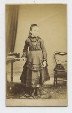 Teenage Victorian Girl in Boots & Dress Antique CDV Photograph L3