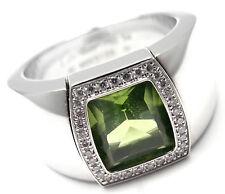 Rare! Authentic Cartier La Dona 18k White Gold Peridot Diamond Band Ring