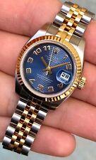 Rolex Lady DateJust 179173 Blue Concentric Dial Women's Wristwatch ORIGINAL