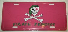 "Jolly Roger Pink Princess Pirate 6""x12"" License Plate Sign"