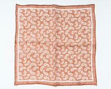 "Isaia Napoli Orange White Paisley Print Pocket Square 100% Linen 13"" 33 cm"