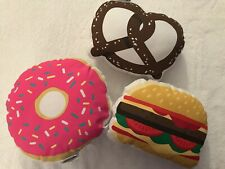 Pillowfort Food Fight Pillow Set - 3 Pillows & Bag- Hamburger Donut Pretzel -New