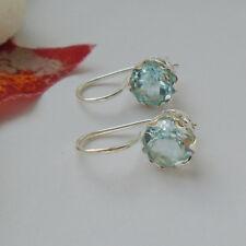 Blautopas blau rund modern schlicht Ohrringe Ohrhänger 925 Sterling Silber neu